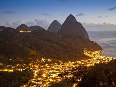 The Pitons and Soufriere at Night, St. Lucia, Windward Islands, West Indies, Caribbean-Donald Nausbaum-Photographic Print
