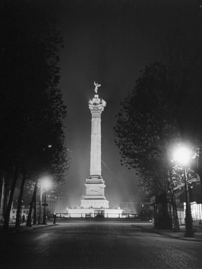 The Place De La Bastille Shimmering with Light During the Night-Ralph Morse-Photographic Print