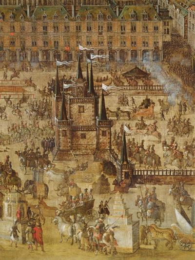 The Place Royale and the Carrousel in 1612, Detail of the Palais De La Felicite and the Chariots--Giclee Print