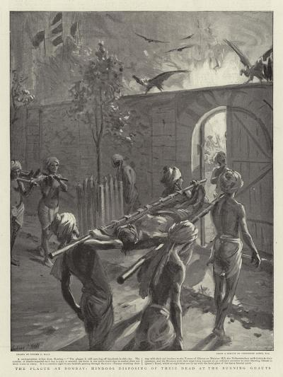 The Plague at Bombay, Hindoos Disposing of their Dead at the Burning Ghauts-Sydney Prior Hall-Giclee Print