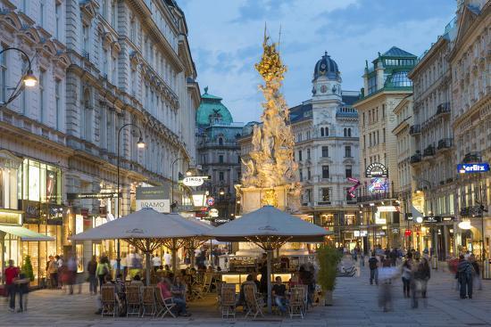 The Plague Column, Graben Street at Night, Vienna, Austria-Peter Adams-Photographic Print
