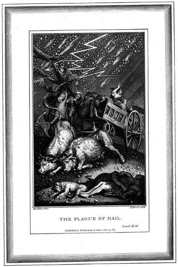 The Plague of Rain and Hail, One of the Seven Plagues of Egypt, C1759-C1789-James Caldwall-Giclee Print