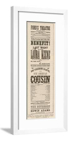 The Playbill Found in President Abraham Lincoln's Box after His Assassination by John Wilkes Booth--Framed Giclee Print