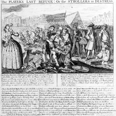 The Player's Last Refuge, or the Strollers in Distress, Published by Bispham Dickinson, 1735--Giclee Print