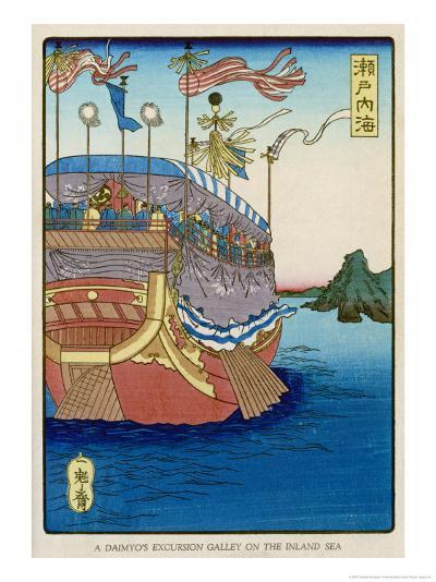 The Pleasure-Barge of a Daimyo of the Togugawa Era on the Inland Sea-Tsukioka Kinzaburo Yoshitoshi-Giclee Print