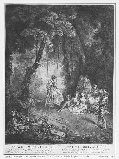 The Pleasures of Summer, Engraved by Francois Joullain-Jean Antoine Watteau-Giclee Print