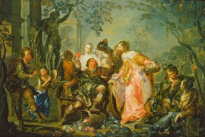 The Pleasures of the Seasons: Autumn, C.1730 (Oil on Copper Mounted with Masonite Backing)-Johann Georg Platzer-Giclee Print