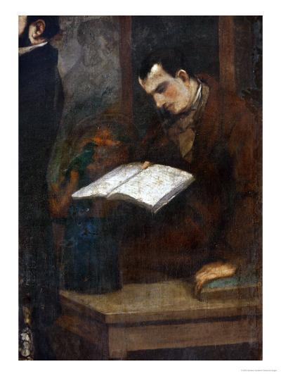 The Poet Charles Baudelaire Reading-Gustave Courbet-Giclee Print