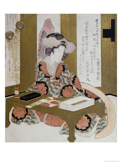 The Poetess, Bijin, at Her Calligraphy Table-Yashima Gakutei-Giclee Print