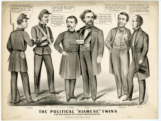 The Political Siamese Twins, the Offspring of Chicago Miscegenation, 1864-Currier & Ives-Giclee Print
