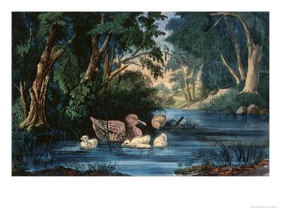 The Pond in the Woods-Currier & Ives-Giclee Print