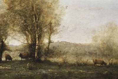 The Pond with Three Cows-Jean-Baptiste-Camille Corot-Giclee Print