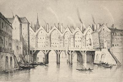 The Pont St Michel in 1550, 1915--Giclee Print