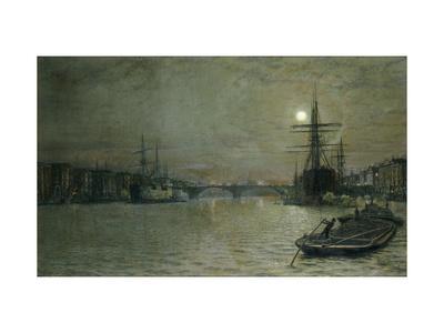 The Pool and London Bridge at Night-John Atkinson Grimshaw-Premium Giclee Print