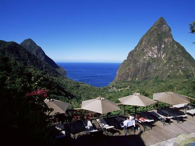 The Pool at the Ladera Resort Overlooking the Pitons, St. Lucia, Windward Islands-Yadid Levy-Photographic Print