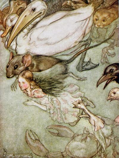 The Pool of Tears, from 'Alice's Adventures in Wonderland' by Lewis Carroll (1832-98) 1907-Arthur Rackham-Giclee Print