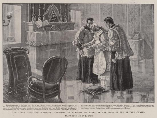 The Pope's Ninetieth Birthday, Assisting His Holiness to Kneel at the Mass in the Private Chapel-Henri Lanos-Giclee Print