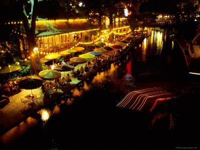 The Popular Riverwalk Lights up with Color on a Summer Evening-Stephen St^ John-Photographic Print