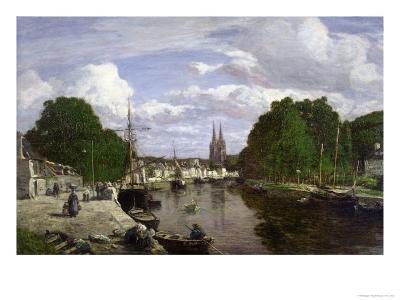 The Port at Quimper, 1857-Eug?ne Boudin-Giclee Print