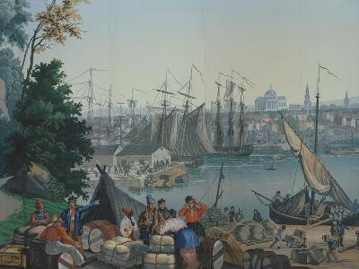 The Port of Boston in the United States of America, Painted Wallpaper, Made by Zuber at Mulhouse--Giclee Print