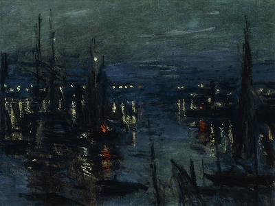The Port of Le Havre, Night Effect-Claude Monet-Giclee Print