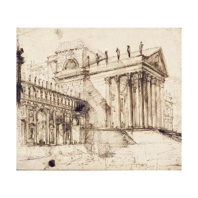The Portico and Facade of an Elaborate Neo-Classical Building (Pen and Brown Ink)-Giovanni Battista Piranesi-Giclee Print