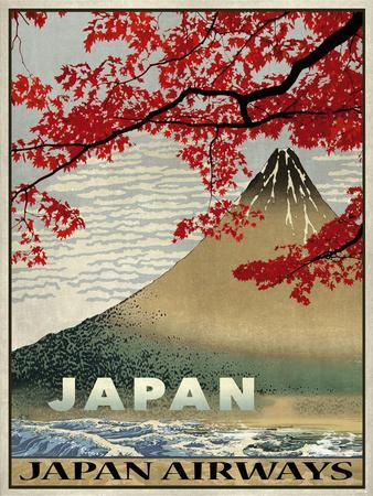 The Calm Beauty of Japan Vintage Japanese Airlines Travel Advertisement Poster