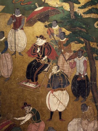 The Portuguese Arriving in Japan, Detail from Paper Screen, Japan, Nanban Art--Giclee Print