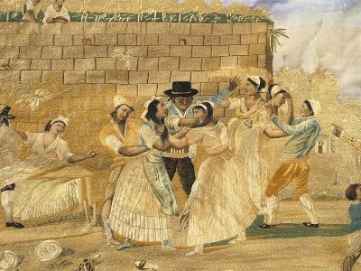 The Possessive Neapolitan, Fight Scene, Embroidery on Silk--Giclee Print