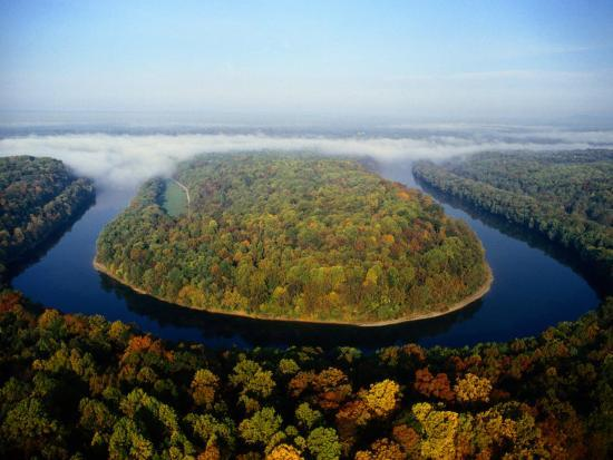 The Potomac River Makes a Hairpin Turn Through the Forest-Sam Abell-Photographic Print