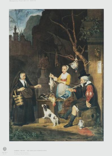 The Poultry Vendor, Young Woman-Gabriel Metsu-Collectable Print