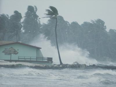 The Powerful Wind and Rain of a Hurricane Pummel a Building-Otis Imboden-Photographic Print