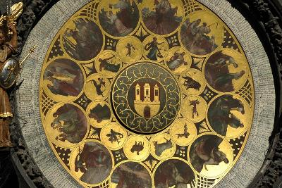 The Prague Astronomical Clock, the Calendar-Josef Manes-Giclee Print
