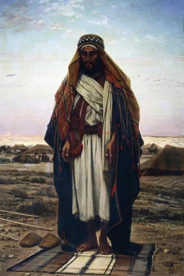 The Prayer in the Desert (Bedouin in Prayer), 1876-Stephen Ussi-Giclee Print