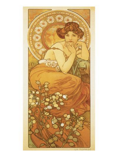 The Precious Stones: La Topaze-Alphonse Mucha-Premium Giclee Print