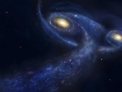 The Predicted Collision Between the Andromeda Galaxy and the Milky Way-Stocktrek Images-Photographic Print