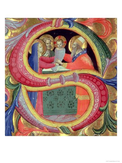 "The Presentation in the Temple, Depicted in an Historiated Initial ""S""-Fra Angelico-Giclee Print"