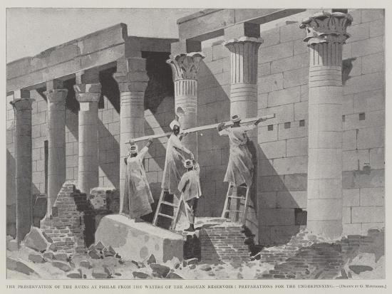 The Preservation of the Ruins at Philae from the Waters of the Assouan Reservoir-Charles Auguste Loye-Giclee Print
