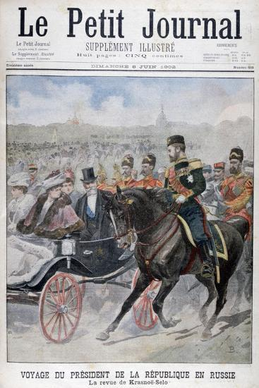 The President of the Republic of France Reviewing Troops, Krasnoye Selo, Russia, 1902--Giclee Print
