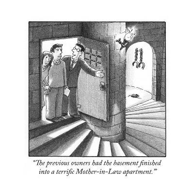 """The previous owners had the basement finished into a terrific Mother-in-L?"" - Cartoon-Harry Bliss-Premium Giclee Print"