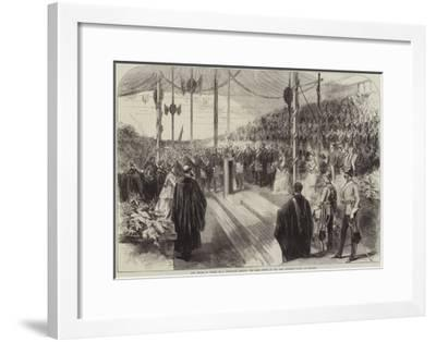 The Prince of Wales, as a Freemason, Setting the Chief Stone of the New Grammar School at Reading--Framed Giclee Print