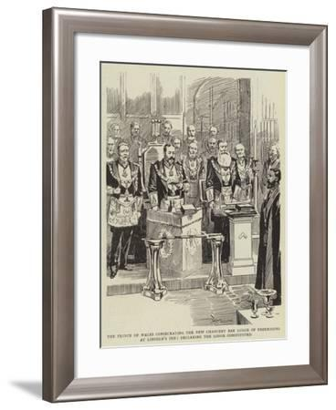 The Prince of Wales Consecrating the New Chancery Bar Lodge of Freemasons at Lincoln's Inn--Framed Giclee Print