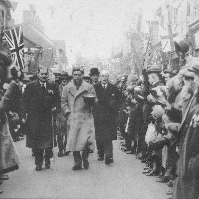 The Prince of Wales greeted by the people of Porth, Glamorgan, during a visit to Wales, 1932 (1936)--Photographic Print
