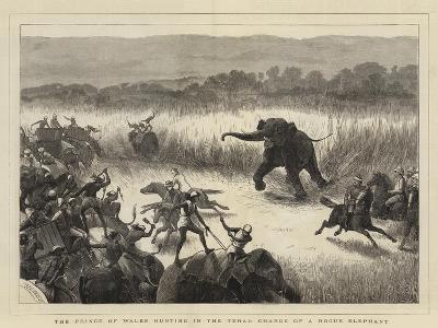The Prince of Wales Hunting in the Terai, Charge of a Rogue Elephant-Samuel Edmund Waller-Giclee Print