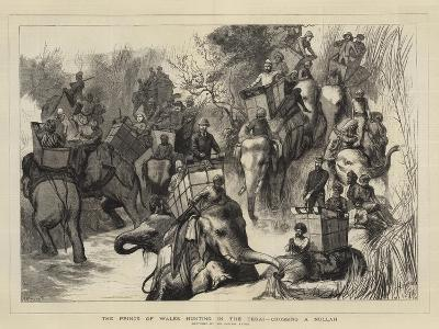 The Prince of Wales Hunting in the Terai, Crossing a Nullah--Giclee Print