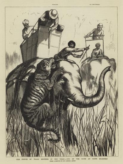The Prince of Wales Hunting in the Terai, One of the Suite at Close Quarters--Giclee Print