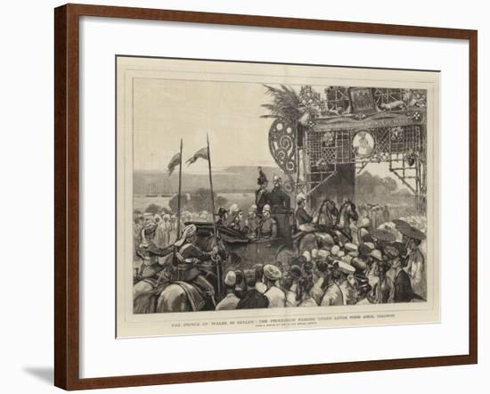 The Prince of Wales in Ceylon, the Procession Passing under Lotus Pond Arch, Colombo-Joseph Nash-Framed Giclee Print