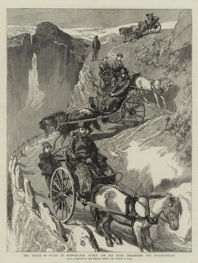 The Prince of Wales in Norway, the Prince and His Suite Descending the Stalheimsklev-Sydney Prior Hall-Giclee Print