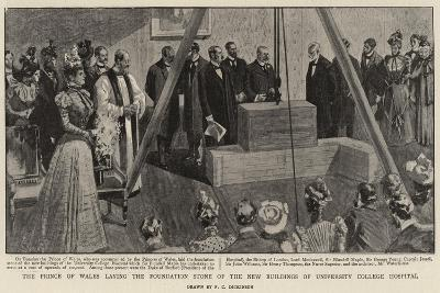 The Prince of Wales Laying the Foundation Stone of the New Buildings of University College Hospital--Giclee Print