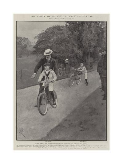 The Prince of Wales's Children as Cyclists-Amedee Forestier-Giclee Print